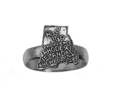 Newport Providence RHODE ISLAND United State Map Sterling Silver 925 Ring - $33.81