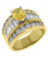 3 CARAT WOMENS FANCY YELLOW DIAMOND ENGAGEMENT RING OVAL SHAPE YELLOW GOLD - $7,915.05
