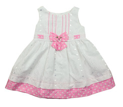 BONNIE BABY NEW INFANT GIRLS 2 PC WHITE PINK DOT PRINT DRESS 18M $60 - $24.74