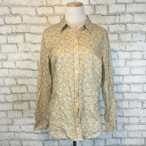 The Limited Women's Bright Yellow Dainty Floral Button Up Shirt Top Size... - $16.19