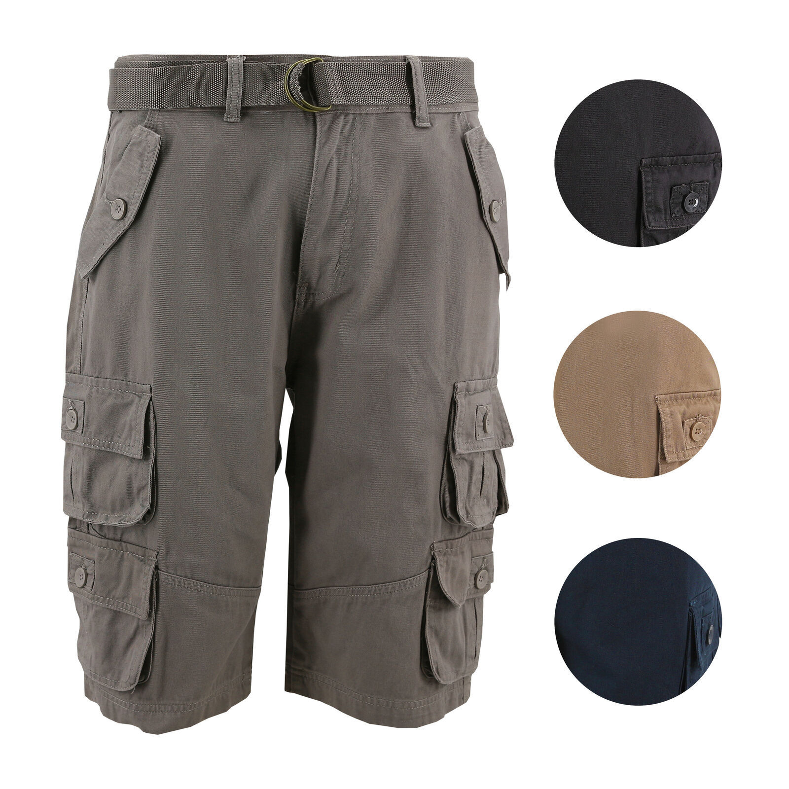 Men's Relaxed Fit Cotton Belted Cargo Shorts With Multiple Button Flap Pockets