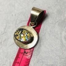 925 Sterling Oval Pendant Blue Gold Fleck GemStone Vintage 925Mexico Stamped 16g - $34.65