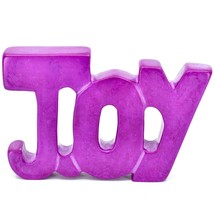 Vaneal Group Hand Carved Soapstone Fuchsia Pink JOY Free-Standing Word Sign