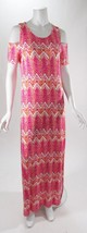 Design History Off The Shoulder Pink Chevron Maxi Dress Sz S, M , L, XL NWT - $20.99