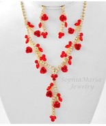 Red crystal flower necklace set gold tone bridesmaid wedding bridal prom... - $19.79