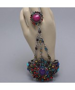 Statement hand chain colorful flower hinged bracelet ring crystals evening prom - $22.02