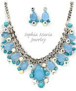 Stunning evening formal blue necklace set brida... - $24.74