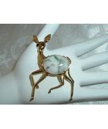 Vintage Wildlife Figural Deer Brooch Cabochon Rhinestone Gold Tone 2&1/2in. - $29.95