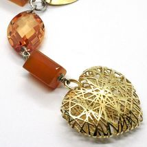 Necklace Silver 925, Agate Orange, Ovals Satin, Heart Convex Perforated image 3