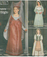 Simplicity 9836 Girls' Medieval Renaissance Dress Costume Pattern 7-14 - $9.95