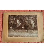 Old Medium Sepia Photo of Soldiers Warriors weapons horses military phot... - $80.00