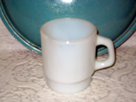 Fire-King 65 Anchor Hocking White Opalescent Coffee Cup Stackable Vintage - $14.00