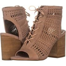 Steve Madden Gavell Lace Up Heeled Sandals 221, Camel Suede, 6 US - $25.91