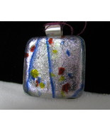 Dichroic Glass Pendant with Sterling Silver Bai... - $20.00