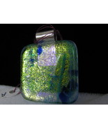 Dichroic Glass Pendant with Sterling Silver Bail, RKS245 - $20.00
