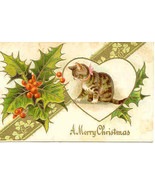 A Cute Christmas Kitten Vintage 1908 Post Card  - $6.00