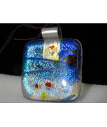 Dichroic Glass Pendant with Sterling Silver Bail, RKS247 - $20.00