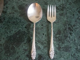 SILVER PLATE LARGE SERVING FORK AND SPOON BEAUTIFUL FLORAL PATTERN VINTAGE - $12.99