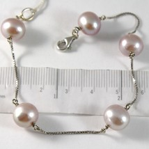 BRACELET WHITE GOLD 750 18K PEARLS PURPLE LAVENDER DIAMETER 9-10 MM CHAIN - $345.96