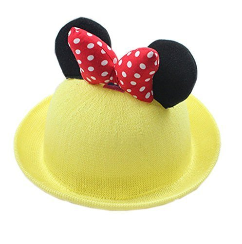 Summer Fashion Sun Hat For Kids With Bowknot Decor Yellow
