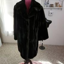 Vintage Carson Pirie & Scott Faux Fur Coat XL Dark Brown 3/4 Sleeves Hoo... - $87.07