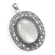 Ornate Sterling Silver Pendant with Marcasite and Shell - $119.99
