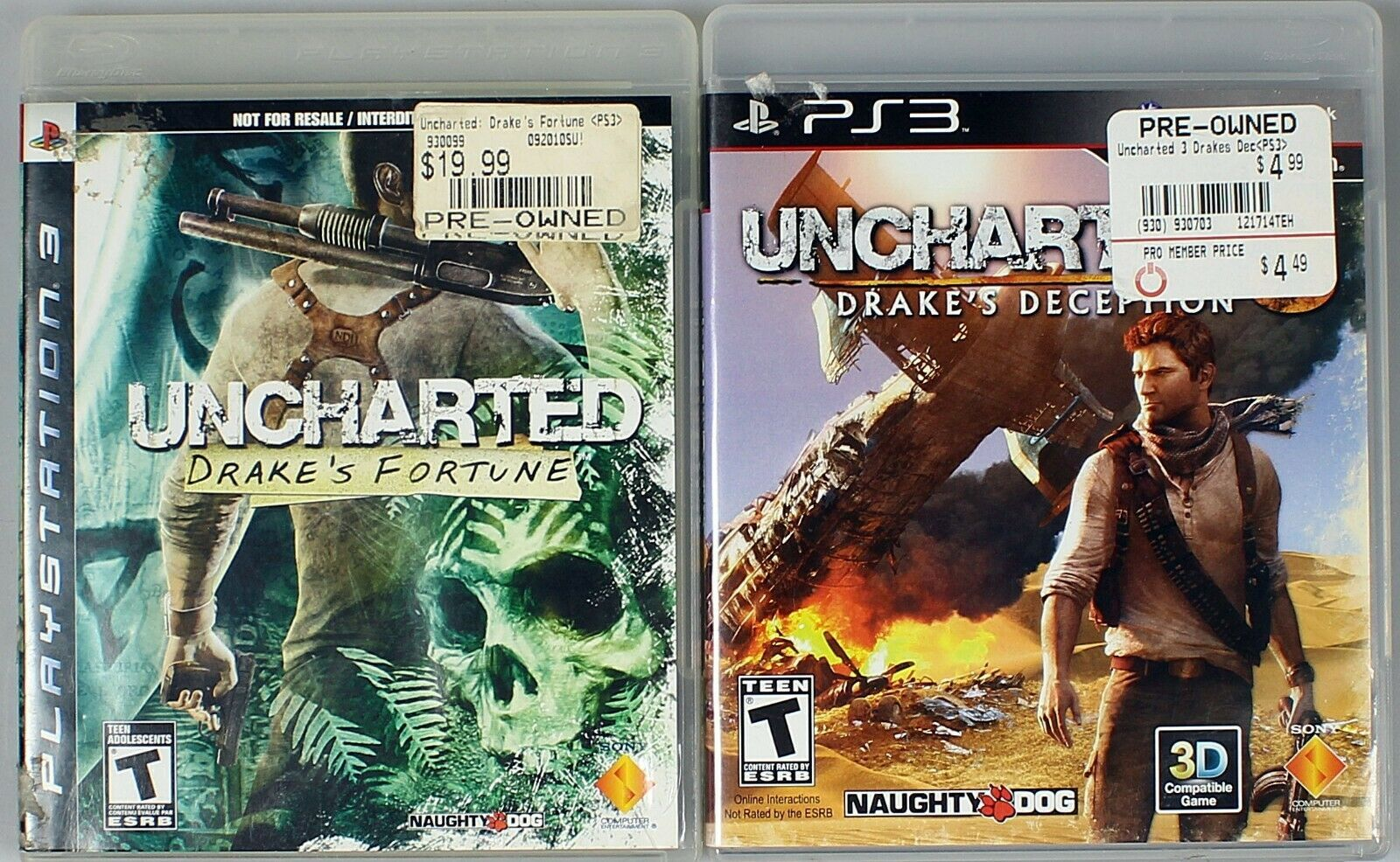 Drakes Fortune Uncharted deception lot of 2 games Sony Play station 3 PS Game