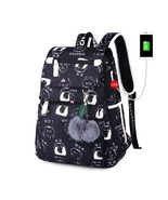 School Backpack Girls USB Charger Port Bags Laptop Women Black Travel Fa... - $51.99