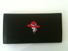 Lady W Red Hat Design Black Leather Checkbook Cover Free Shipping - $16.00