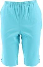 Denim & Co Side Lace-Up Bermuda Shorts Pockets Clear Aqua XXS NEW A233552 - $10.86