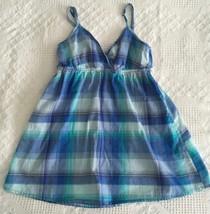 H&M Blue Plaid Top Tank Cami Adjustable Strap Sleeveless Junior Ladies ... - $1.99