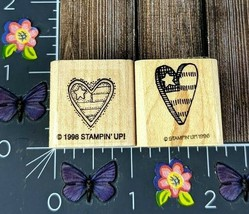 Stampin' up! American Patriotic Hearts Set Of Two Rubber Stamps Stars Wo... - $3.22