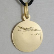 18K YELLOW GOLD MADONNA OUR LADY OF LORETO PATRON AVIATION MEDAL MADE IN ITALY  image 3