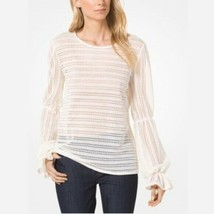 New $110 Michael Kors Jacquard Top Bone Off White Sweater Shirt Size Medium - $47.32