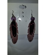 Leather Feather Earrings - $28.00