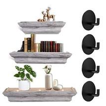 BARONAGE Grey Floating Shelves Set of 3 with 4pcs Adhesive Hooks ,Floating Wall  - $68.99