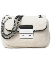 Michael Kors Sloan Shoulder Bag Crossbody Shearling Fur Leather Chain AP... - $141.11