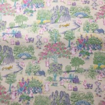 "3& 5/8 Yards Easter Toile Fabric Traditions 44"" wide Bunny Duck Flowers - $29.02"