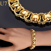"Fashion Women Bracelet Gold With ""18K"" Stamp Trendy Platinum/18K Real Gold Plate - $45.99"