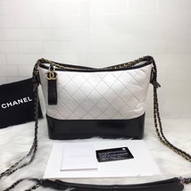 NEW AUTHENTIC CHANEL White Black Quilted Calfskin Medium Gabrielle Hobo Bag  image 2