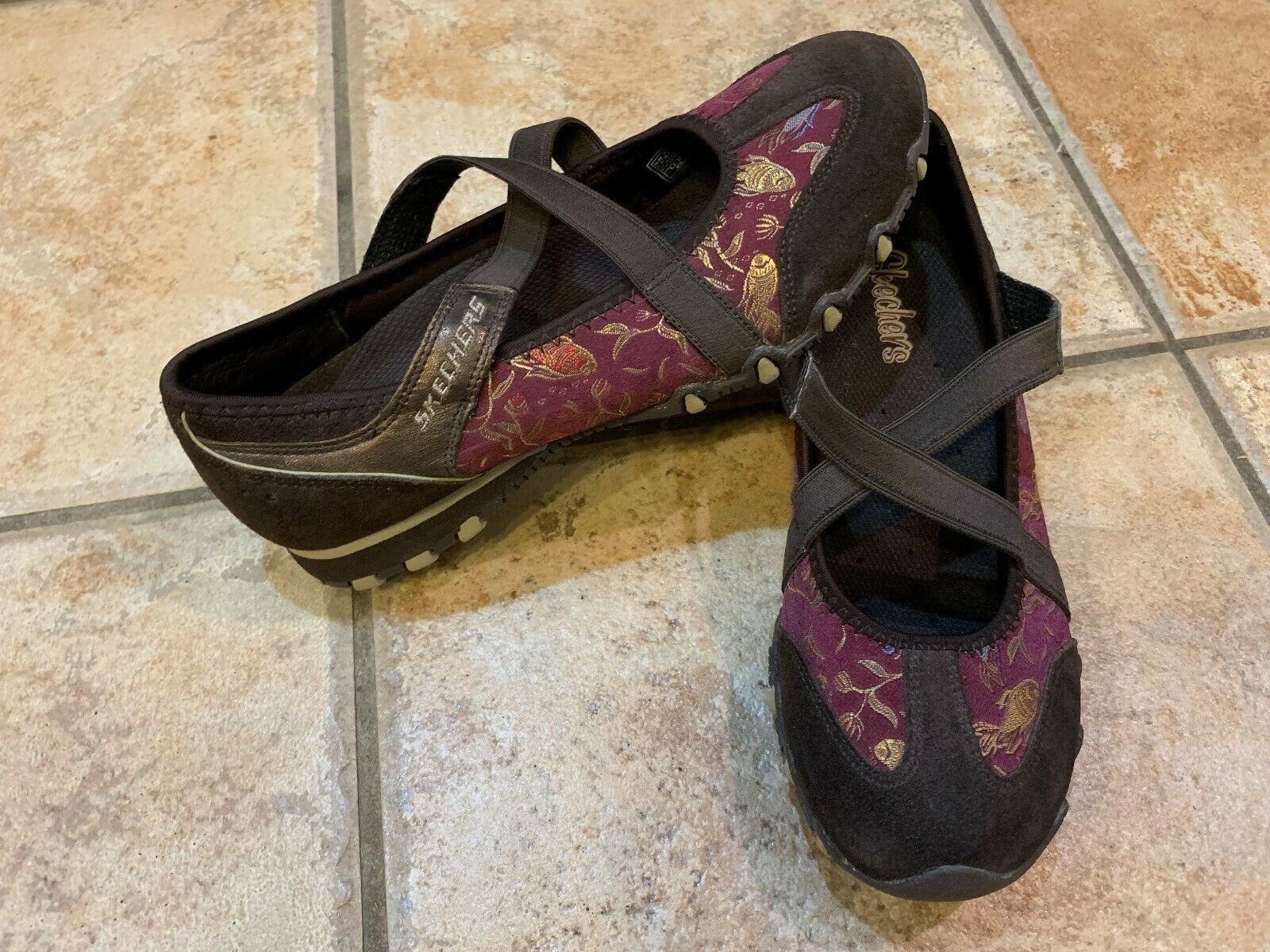 SKECHERS WATERLILY BIKERS  BROWN SUEDE BURGUNDY FLORAL SATIN 6 36 M SNEAKERS NEW