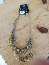 1099 Silver W/ Burnt Yellow Beads Necklace Set (New) - $8.58