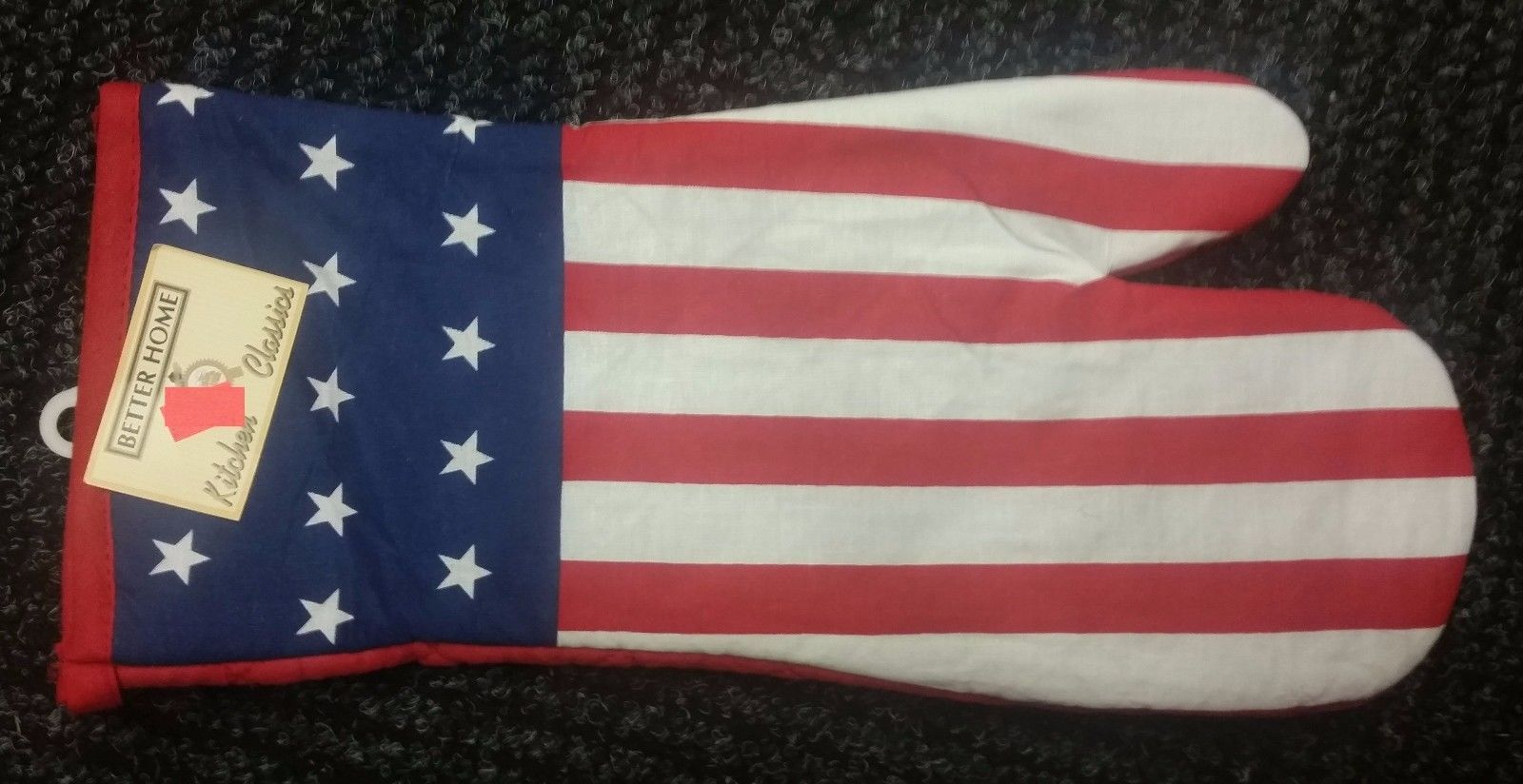 "Fabric Printed 13"" Jumbo Oven Mitt, USA, AMERICAN FLAG, PATRIOTIC by BH"