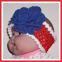 Patriotic Flower Headband Blue Sparkler Girls Toddlers Red White Baby Stretchy - $9.00
