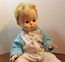 "Vintage 1967 17""  EFFANBEE BOY  OPEN CLOSE EYES Vinyl Baby Doll #15 - $31.19"