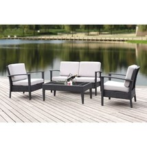 Safavieh Outdoor Living Cushioned Brown Glass Top 4-piece Patio Set - $657.62