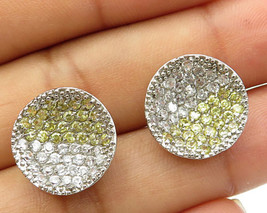 925 Sterling Silver -  Yellow & White Concave Stud Earrings - E3045 - $24.96