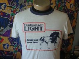 Vintage 80s Budweiser Light Anheuser-Busch Beer T Shirt M  - $49.49