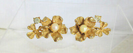 Vintage BSK Faux Pearl Rhinestone Flower Shamrock Earrings Gold Plate Si... - $13.49