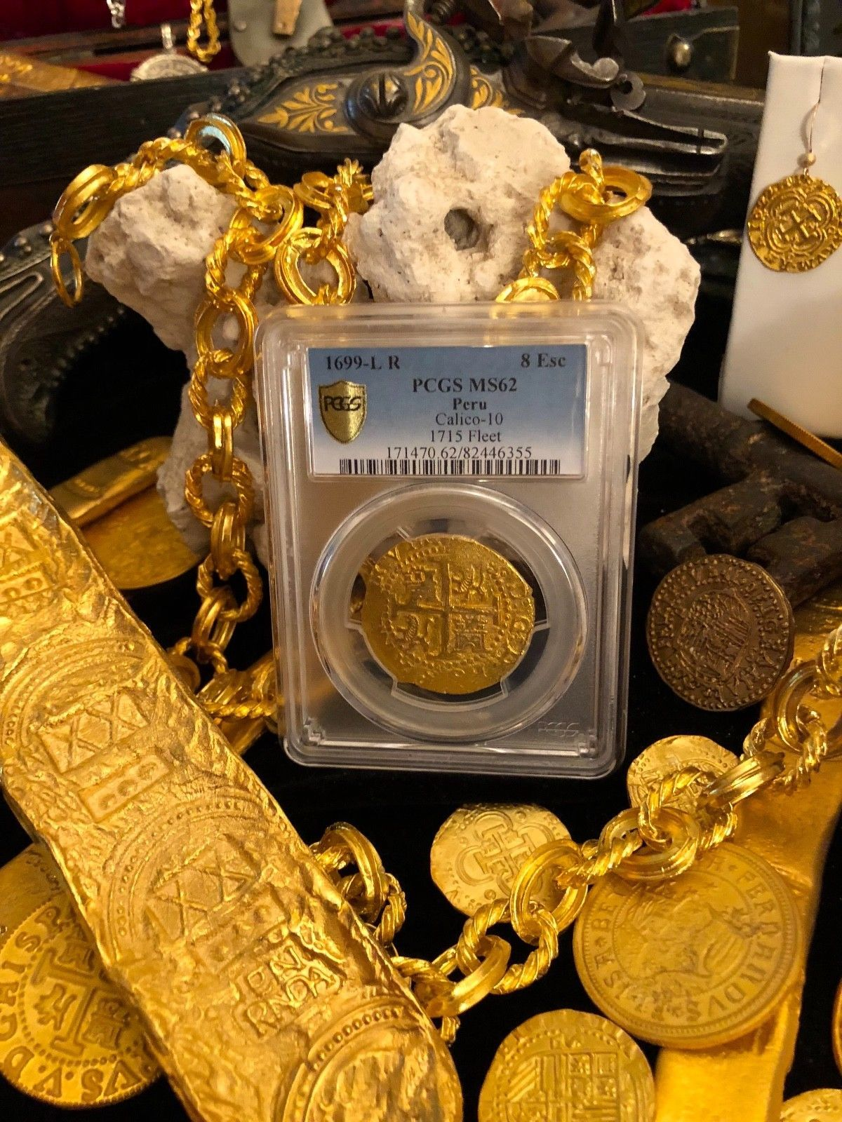 Primary image for PERU 1699 8 ESCUDOS PCGS 62 1715 FLEET GOLD DOUBLOON PIRATE TREASURE COIN
